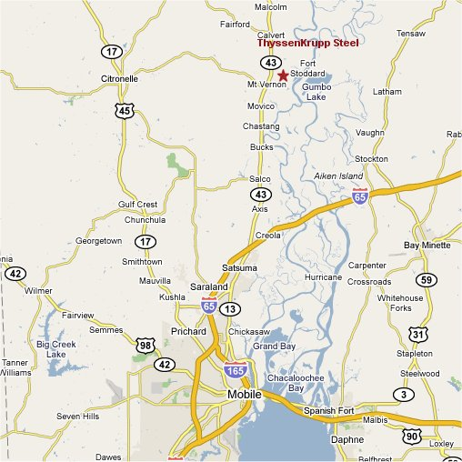 Map of Mount Vernon, Alabama